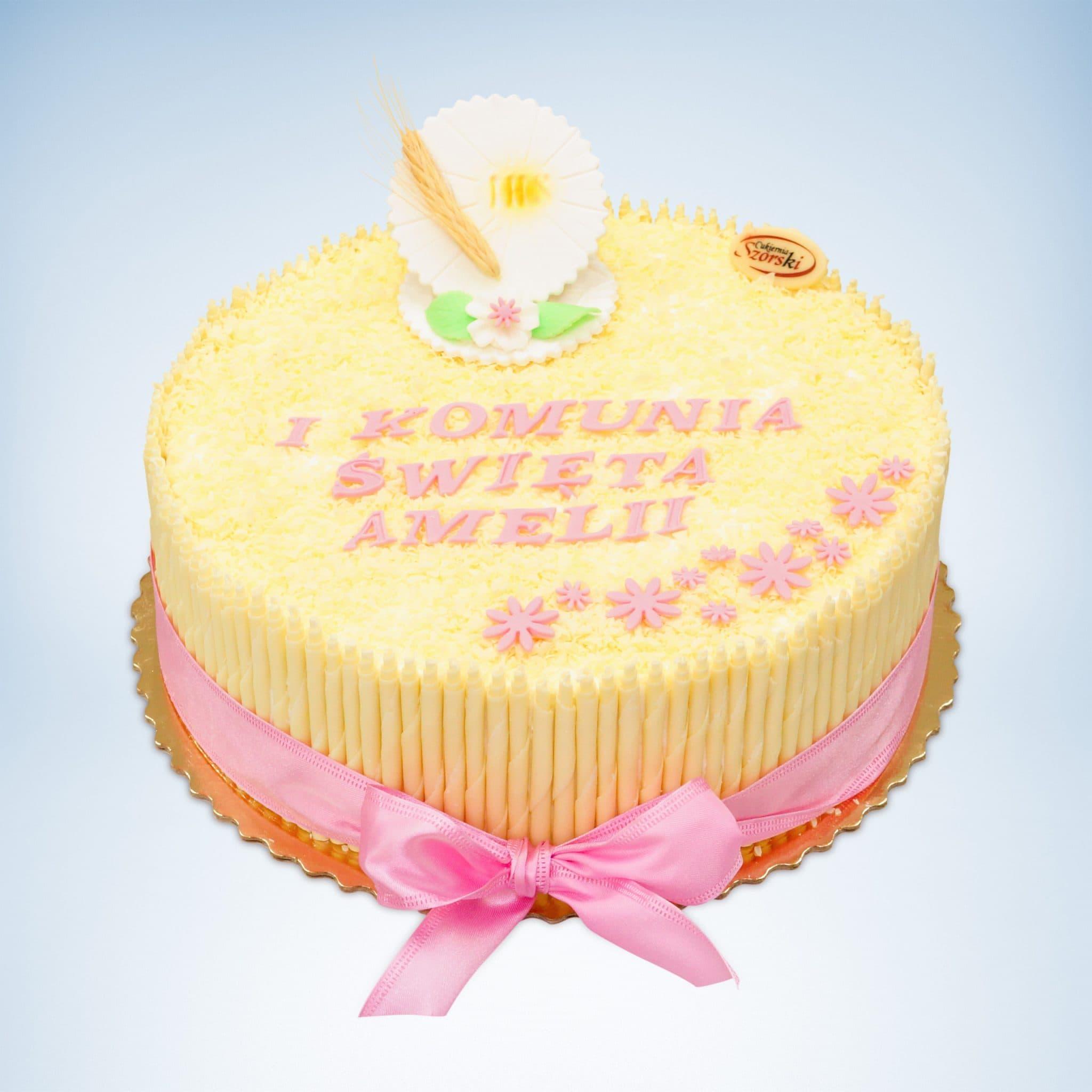 okrągły tort na I Komunię Świętą