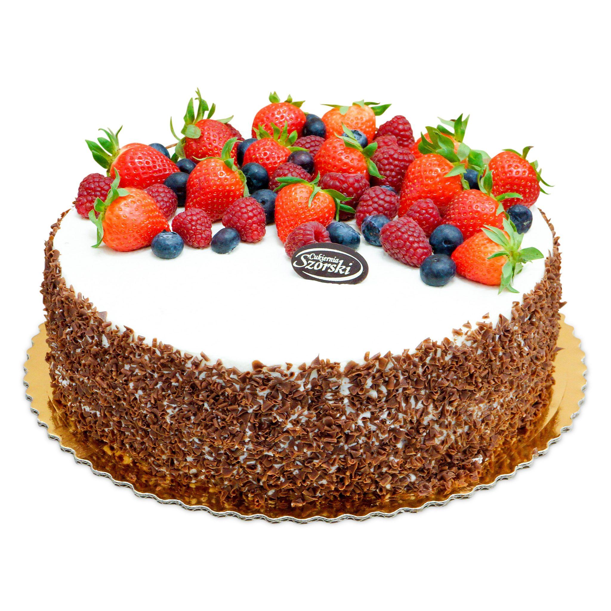 tort czekoladowy z truskawkami, malina i borówkami z ostrów wielkopolski