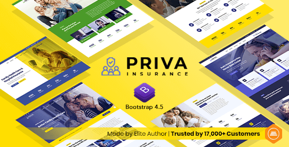 Priva – Insurance Company Website Template + RTL Support