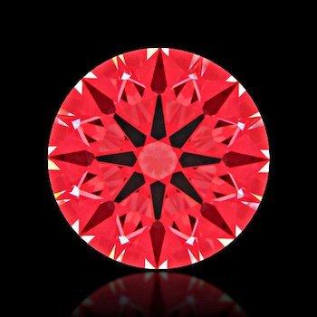 """Abbildung der roten Reflexionsfolie durch das Ideal-Scope eines Diamanten mit """"Super-Ideal-Cut"""""""