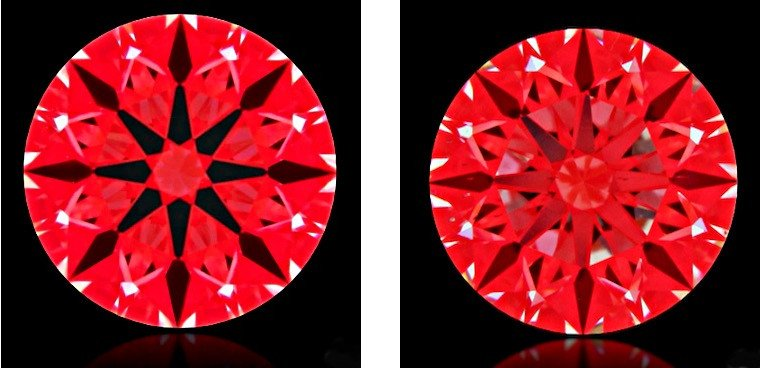 """Die Gefahr beim Kauf eines Diamanten ohne Hinzunahme eines Ideal-Scopes: Beide Diamanten links und rechts mit GIA""""Excellent-Cut"""""""