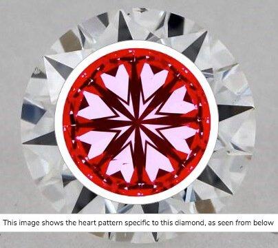 Hearts-Scope-Aufname von Diamant 0,71ct Farbe F Reinheit VS2. Im unteren Bereich 2 Einschlüsse, die jedoch mit normalen Augen (bei VS2) nicht sichtbar sind