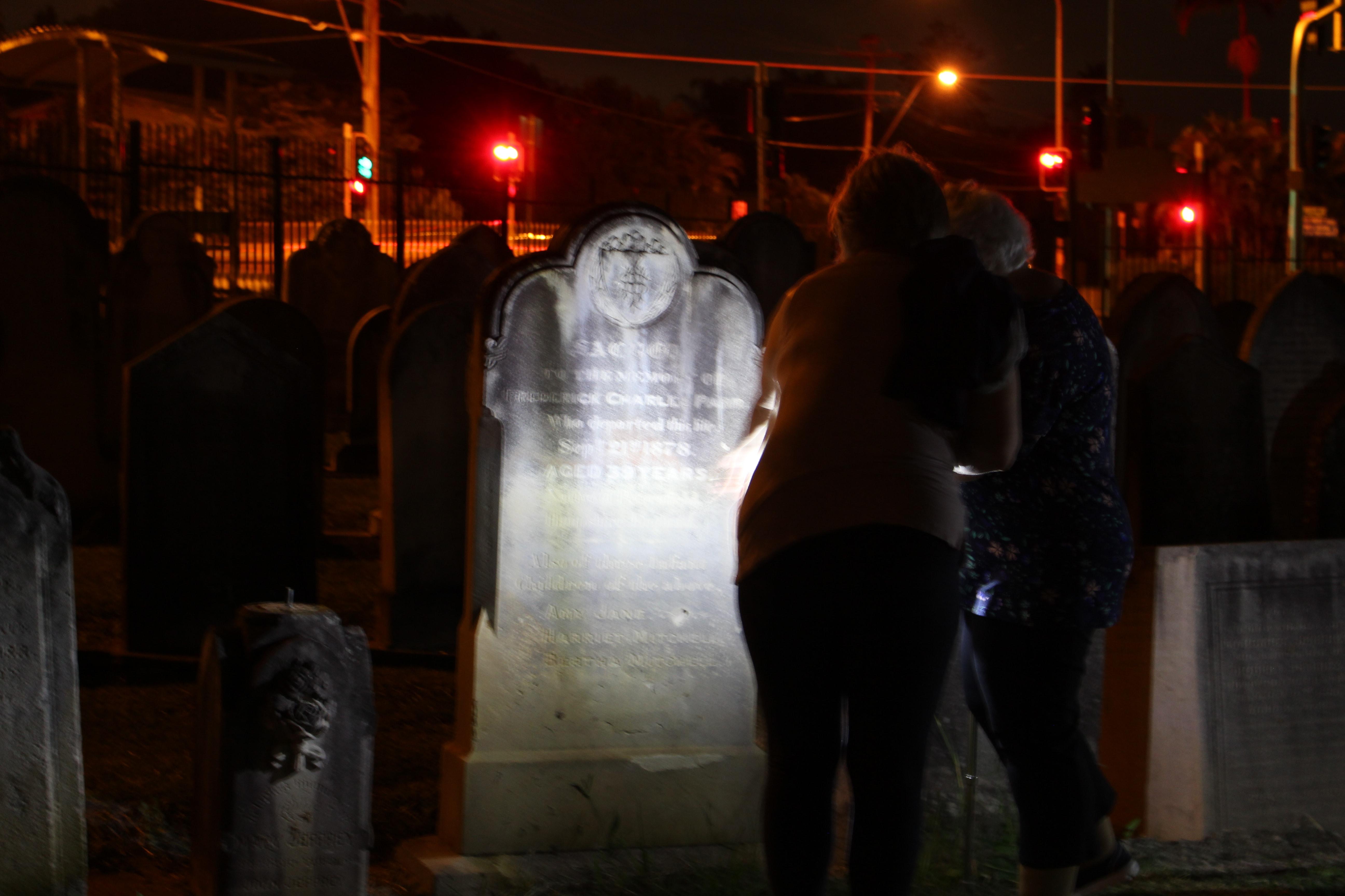 Ipswich Cemetery at night