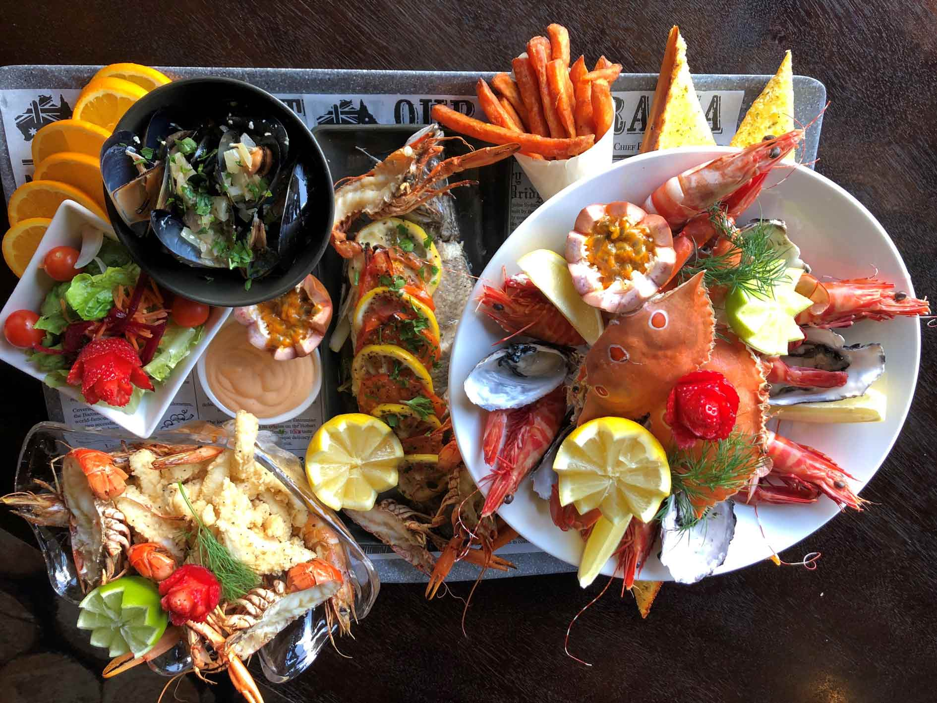 Seafood platter at the PA Hotel