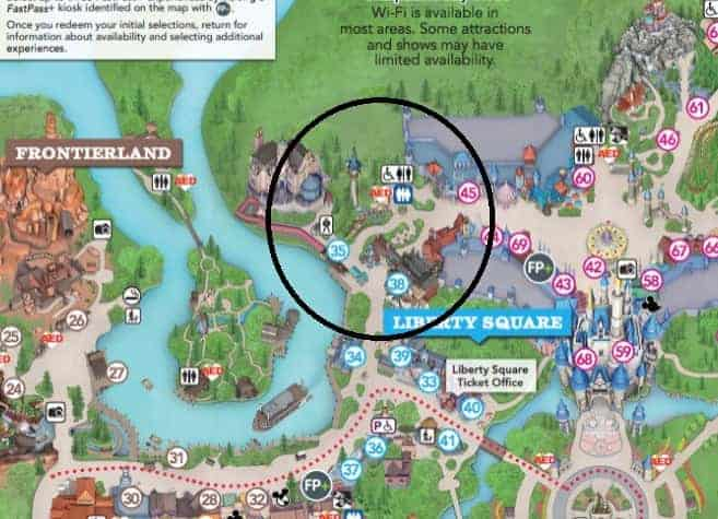 Location of Rapunzel's Tower on Magic Kingdom Park Map