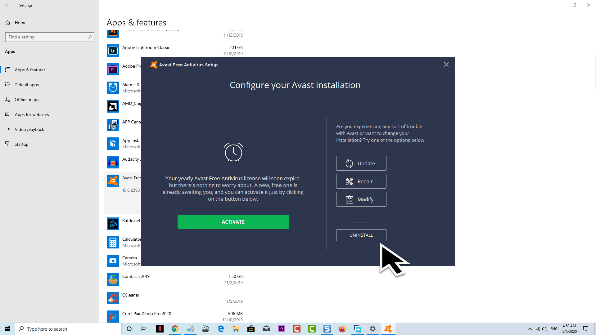 delete Avast from Windows 10