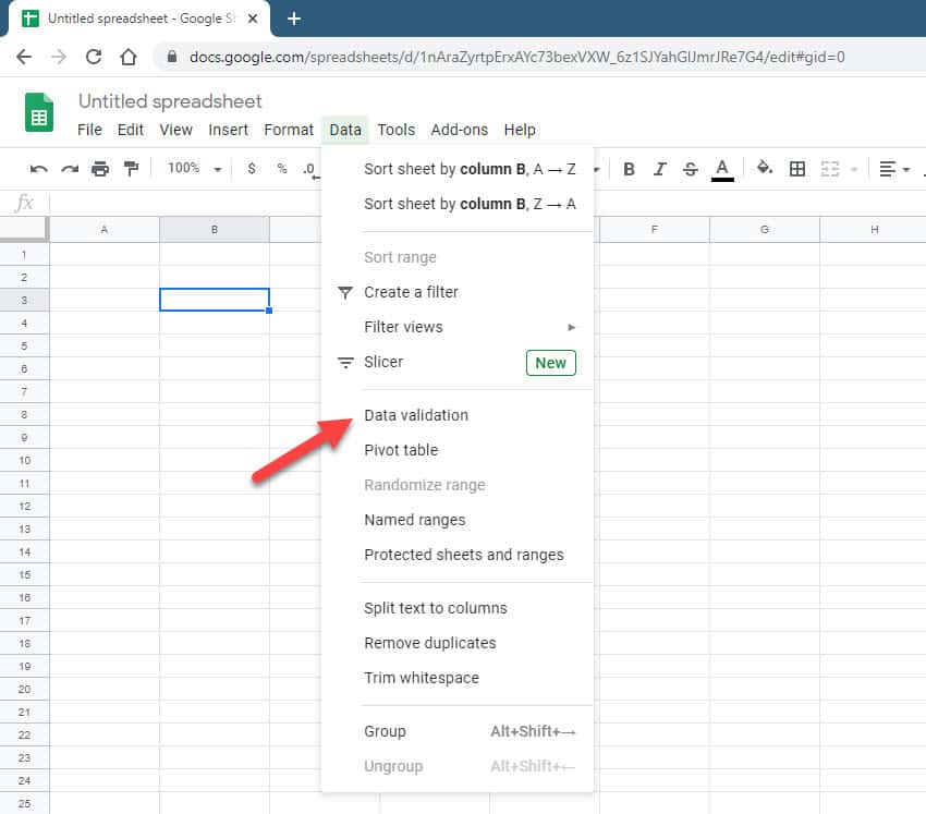 google sheets data validation