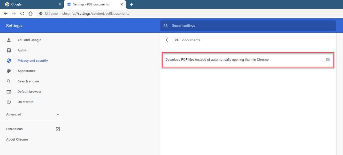 Google Chrome turn off PDF downloads