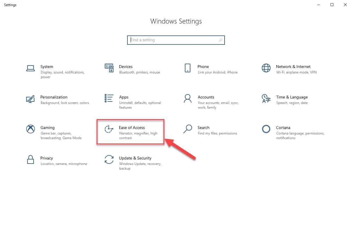 Windows 10 Ease of Access