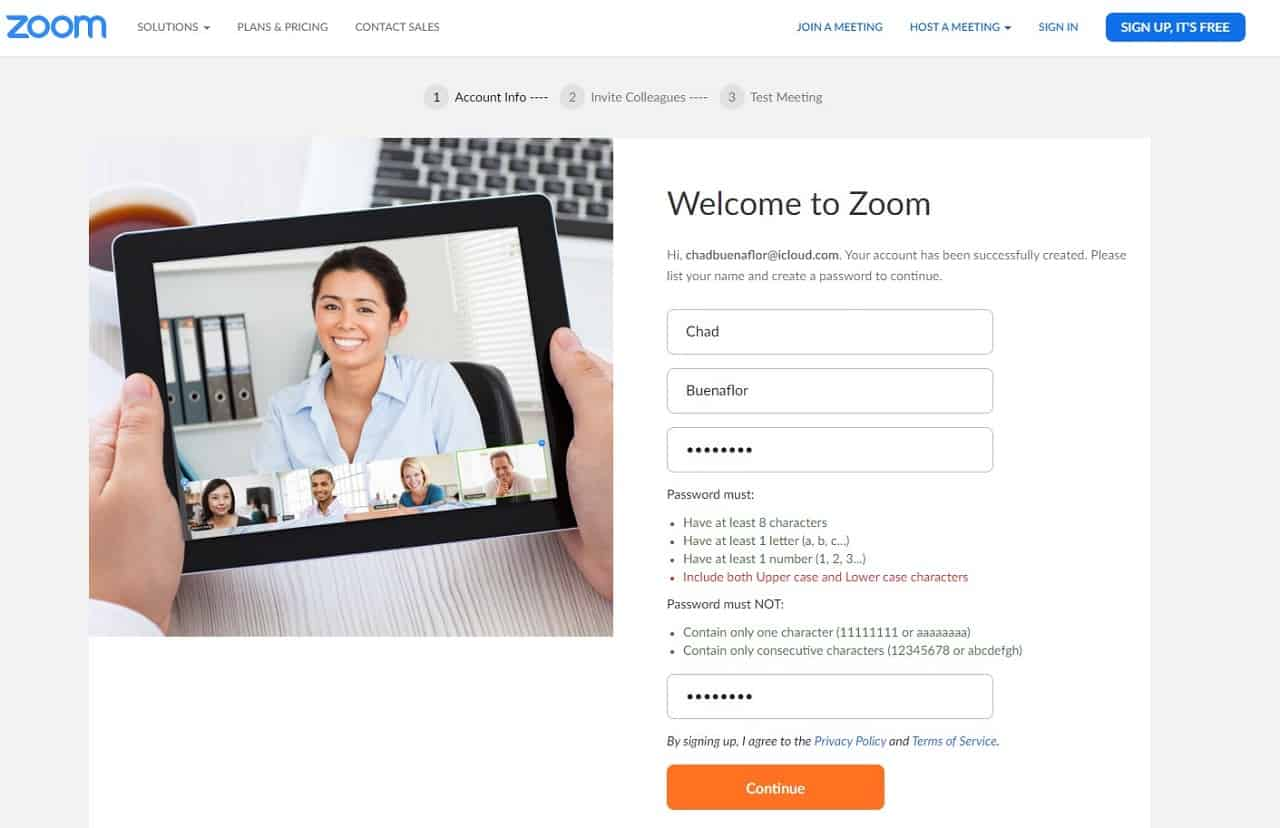 Zoom create account