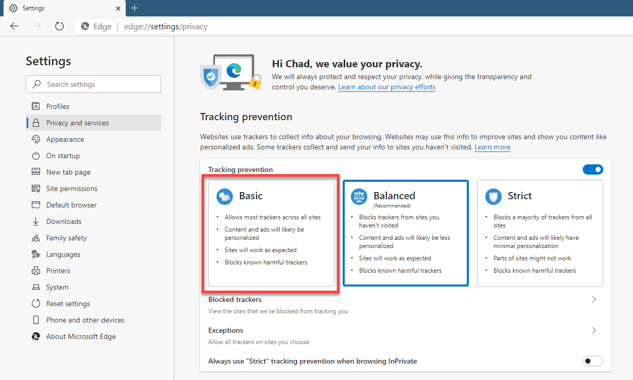 Using Microsoft Edge privacy settings