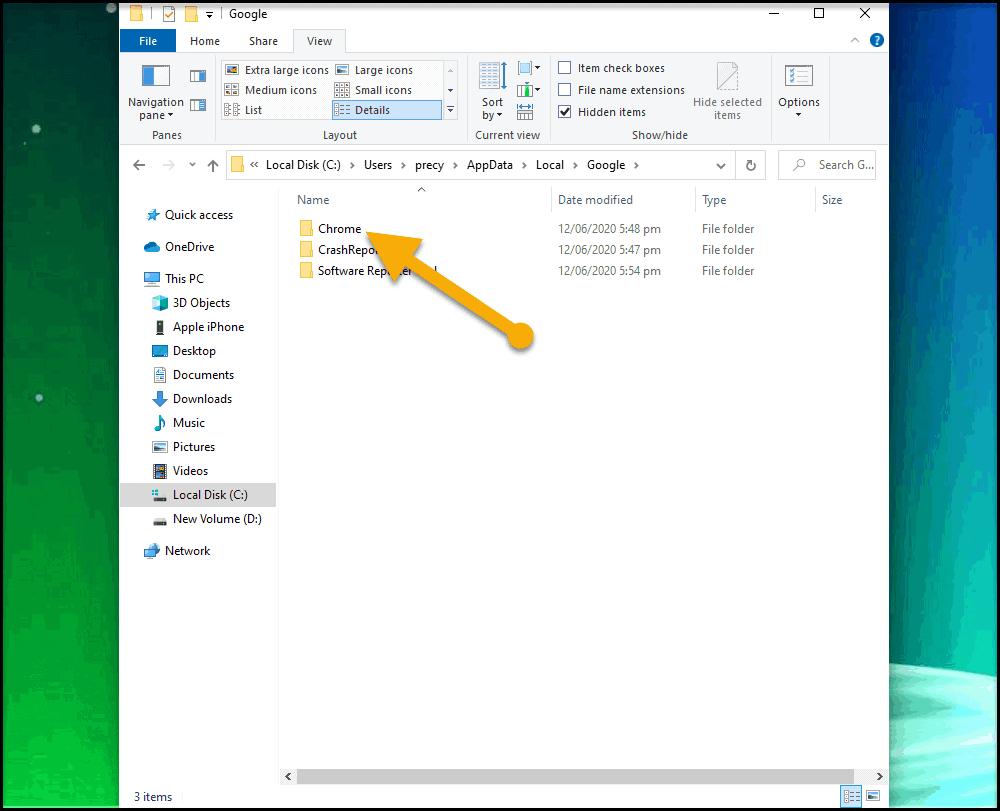 Open Chrome folder