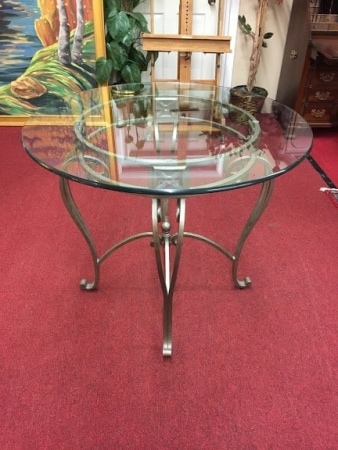 Glass Top Center Table with Metal Base