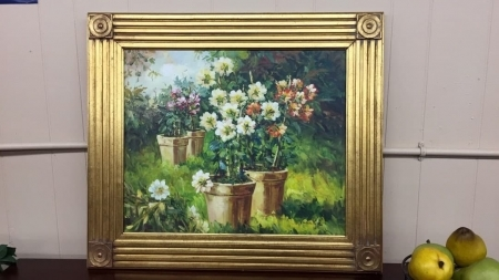 Oil on Canvas of Garden Planters