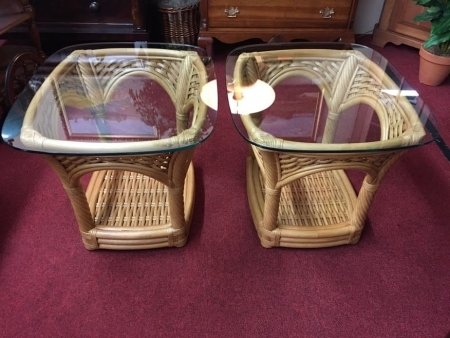 Lane Ventura Rattan Glass Top End Tables