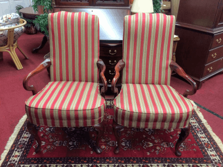 Vintage Striped Arm Chairs - A Pair