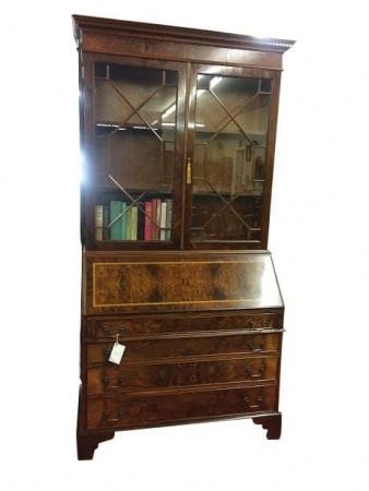 Vintage Burl Walnut Vintage Secretary Desk