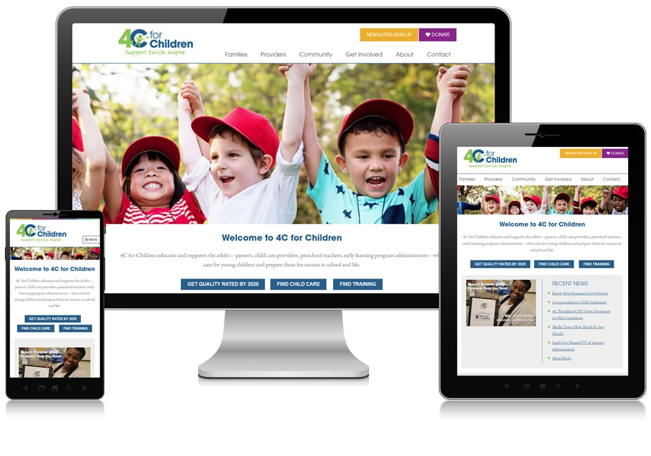 Screenshot of website for 4C for Children