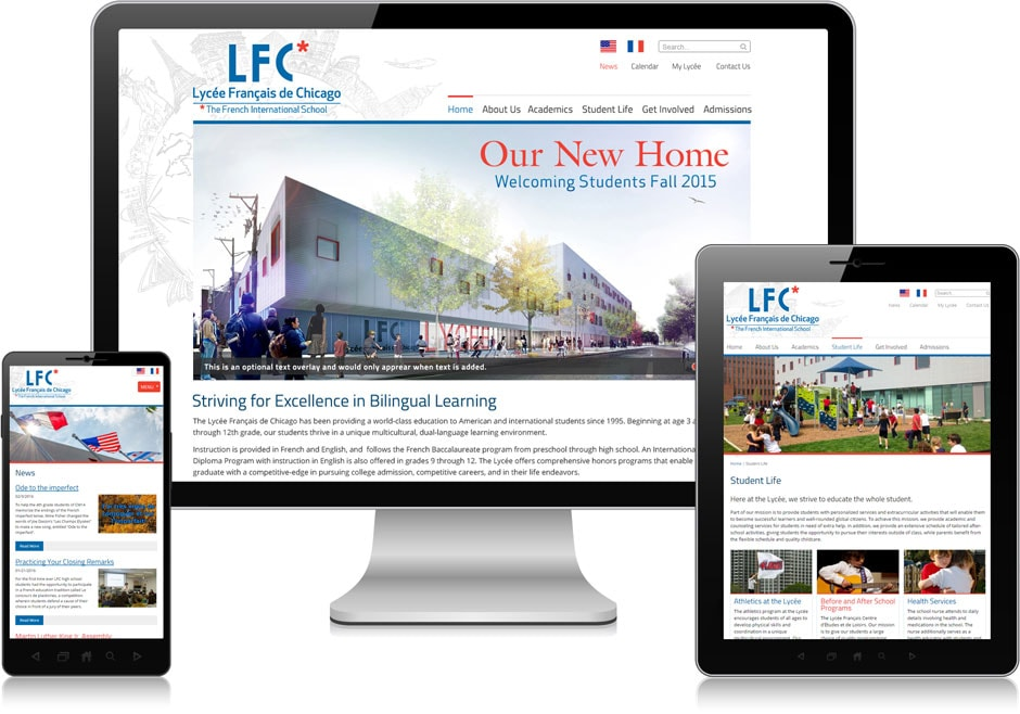 Screenshot of website for Lycée Français de Chicago