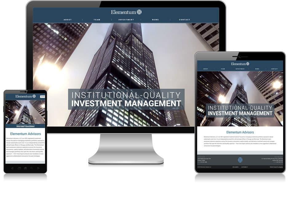Screenshot of website for Elementum Advisors