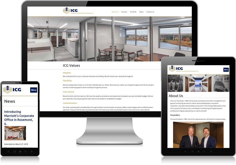 Screenshot of website for Interior Construction Group