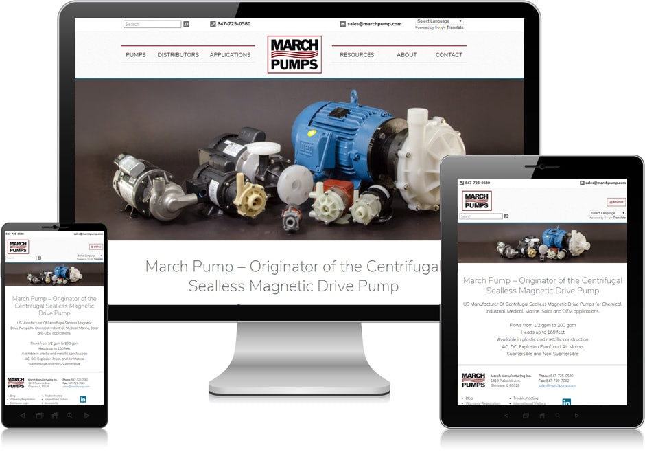 Screenshot of website for March Manufacturing