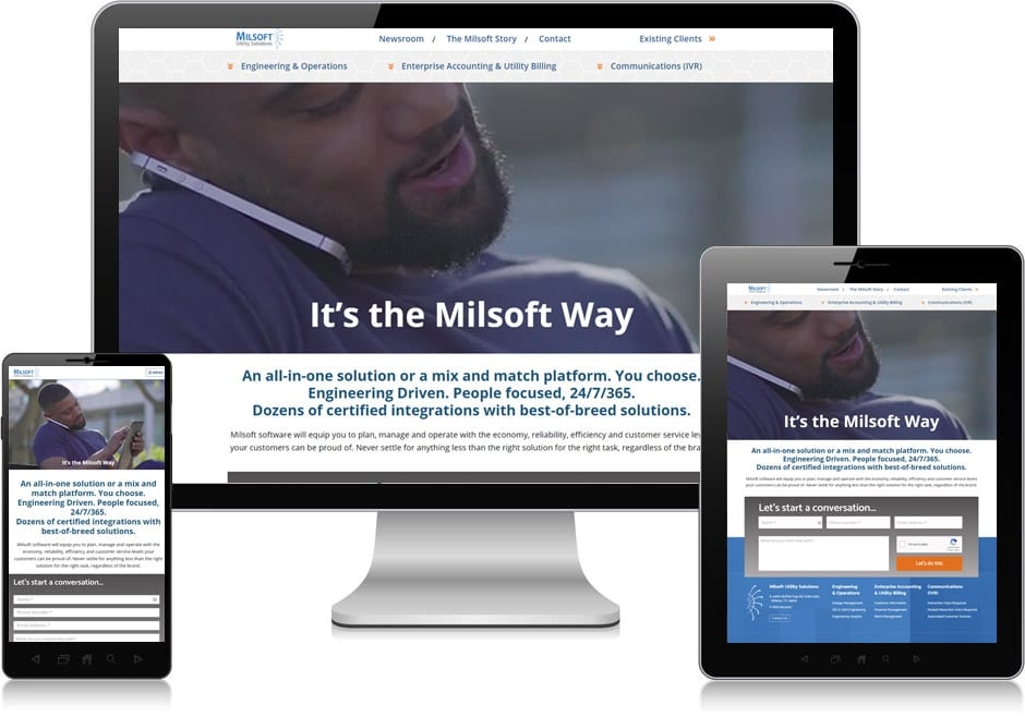 Screenshot of website for Milsoft Utility Solutions