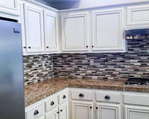 White refinish on oak kitchen cabinets