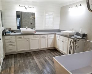 After: bathroom cabinet refinish