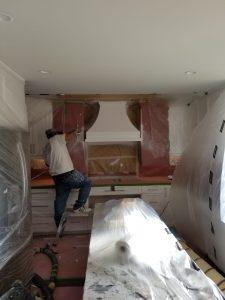 Refinished kitchen island painting process