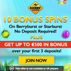 Gday Casino 60 free spins and $500 welcome bonus