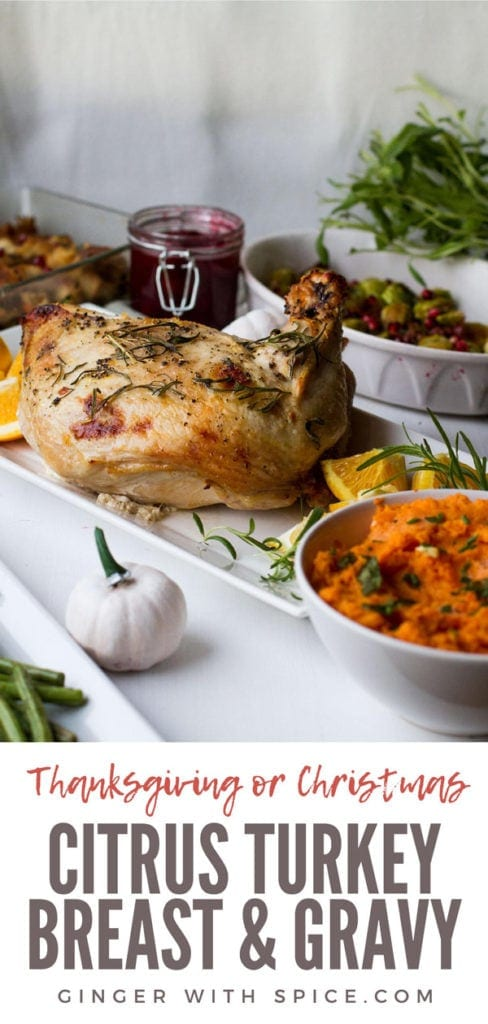 Turkey breast on a white plate, Thanksgiving side dishes around. Pinterest pin.