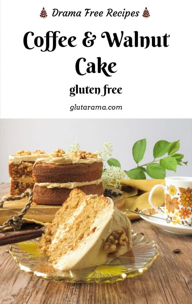 Coffee & Walnut Cake, a top family favourite traditional cake, this is gluten free but can easily be made dairy free with a switch for the butter to a dairy free alternative #glutenfree #coffeecake #coffeeandwalnut #traditionalcakes