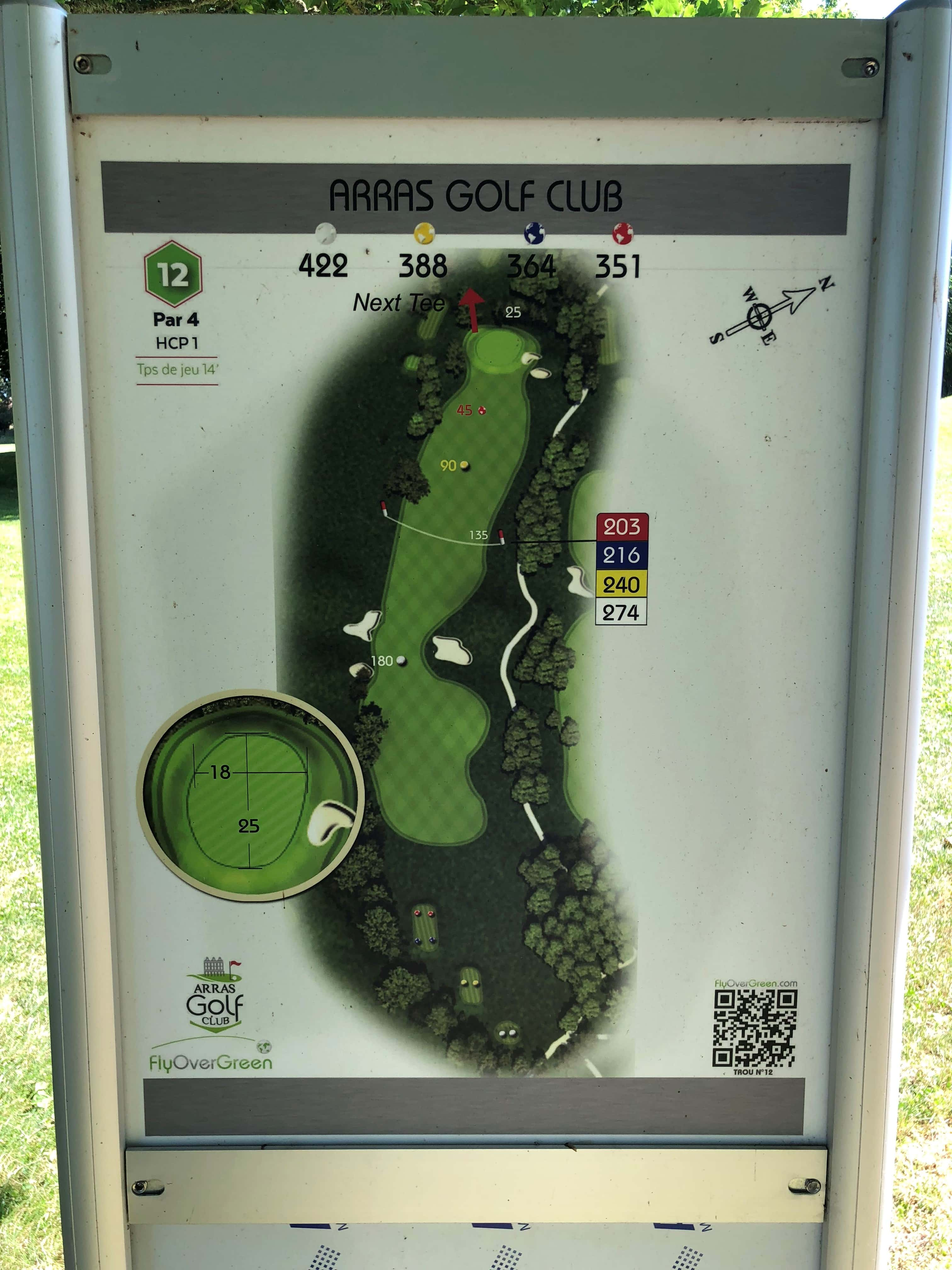 Tee 12, Arras Golf Club, Arras Golf Resort, Parcours La Vallée, Distance 422m, Distance 388m, Distance 364m, Distance 351m, Par 4