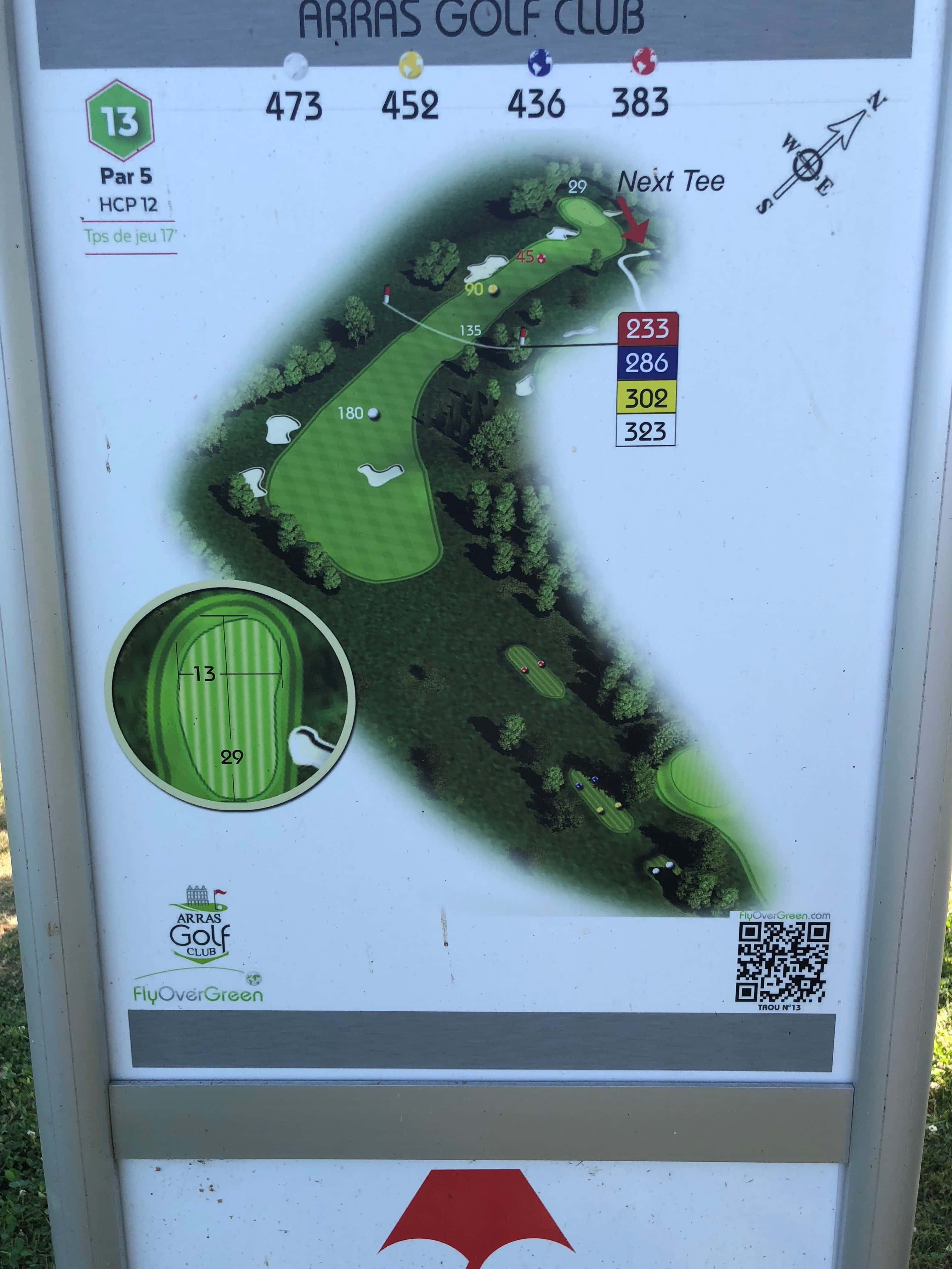 Tee 13, Arras Golf Club, Arras Golf Resort, Parcours La Vallée, Distance 473m, Distance 452m, Distance 436m, Distance 383m, Par 5