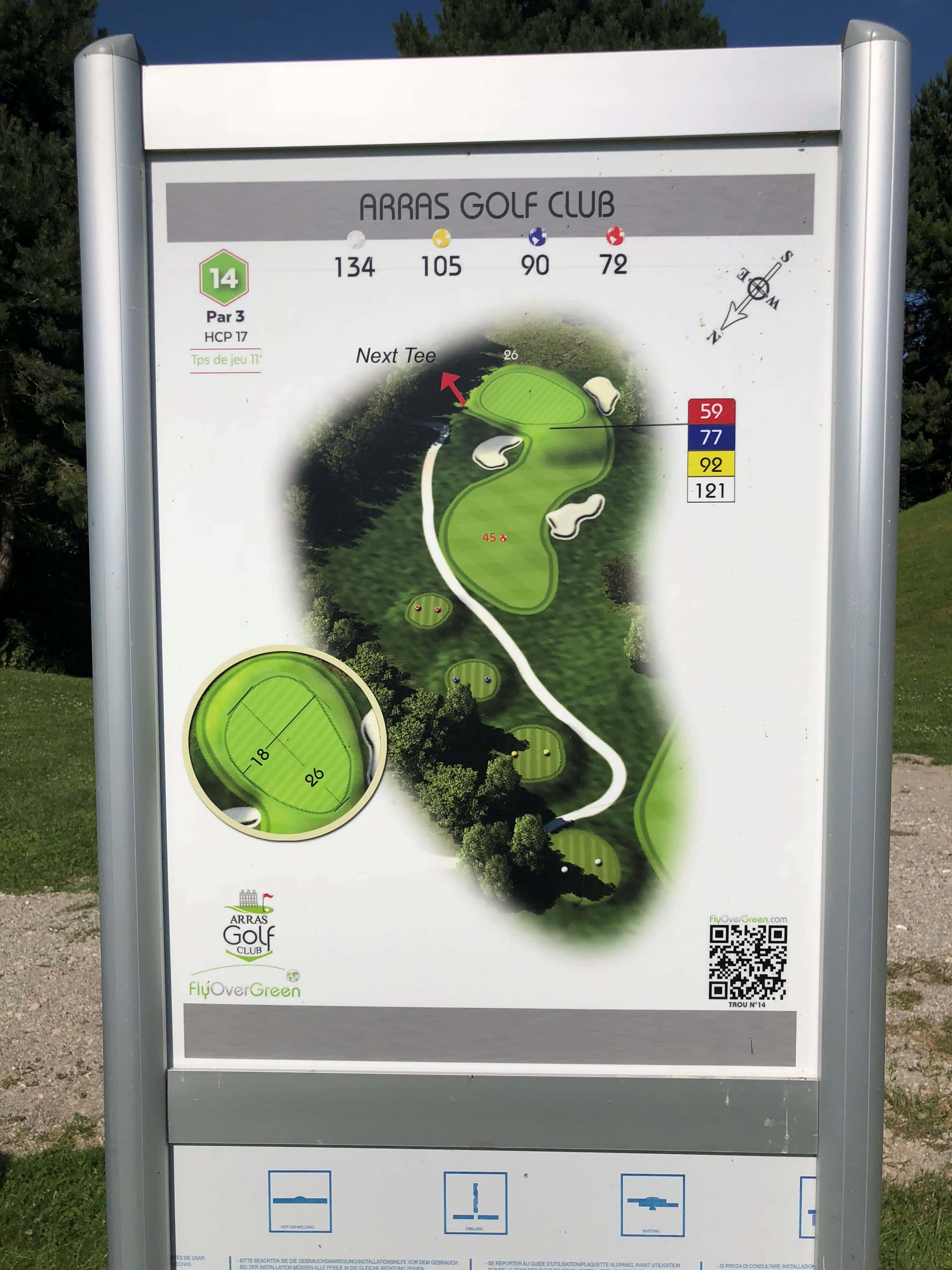 Tee 14, Arras Golf Club, Arras Golf Resort, Parcours La Vallée, Distance 134m, Distance 105m, Distance 90m, Distance 72m, Par 3