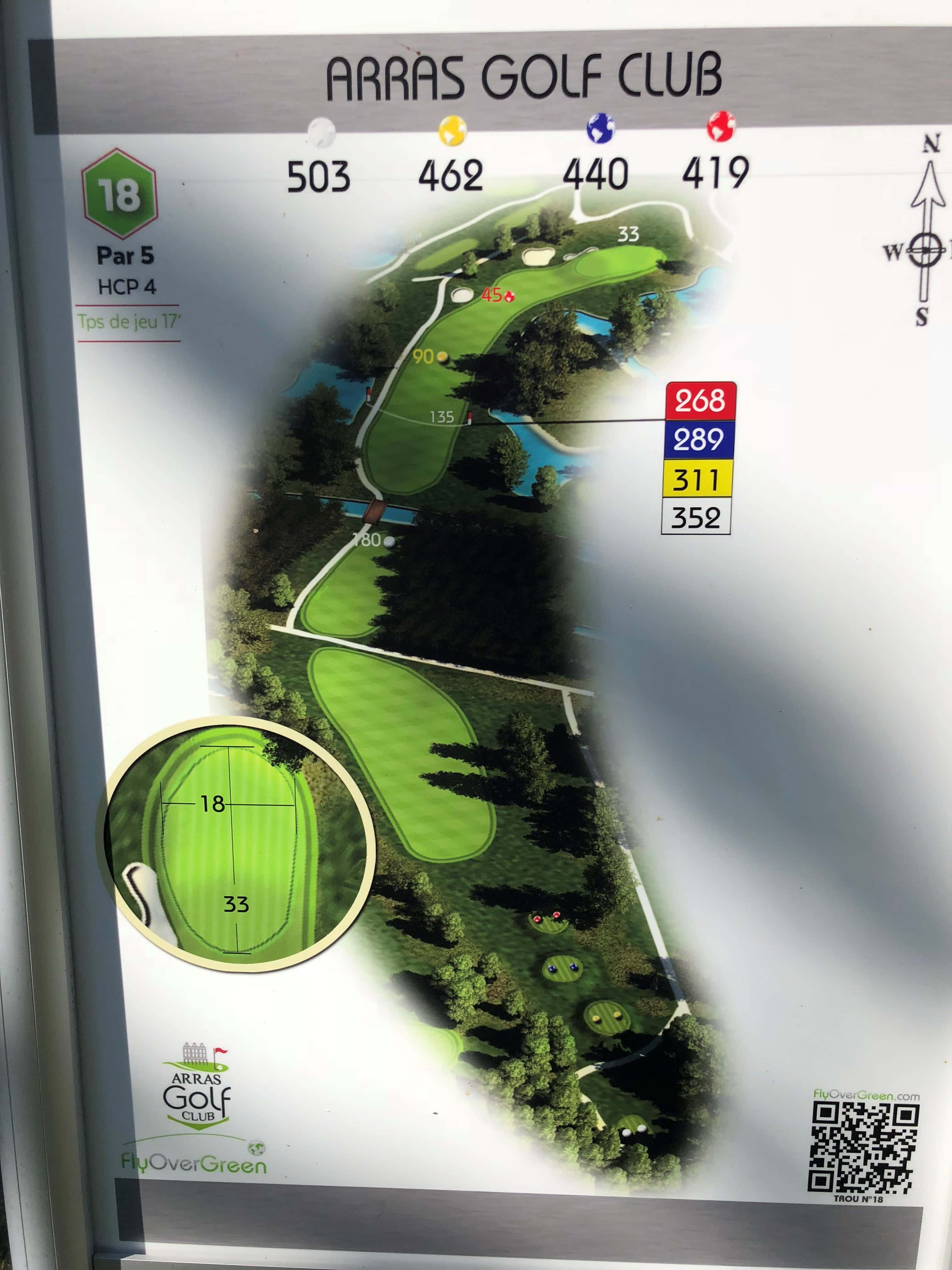 Tee 18, Arras Golf Club, Arras Golf Resort, Parcours La Vallée, Distance 503m, Distance 462m, Distance 440m, Distance 419m, Par 5