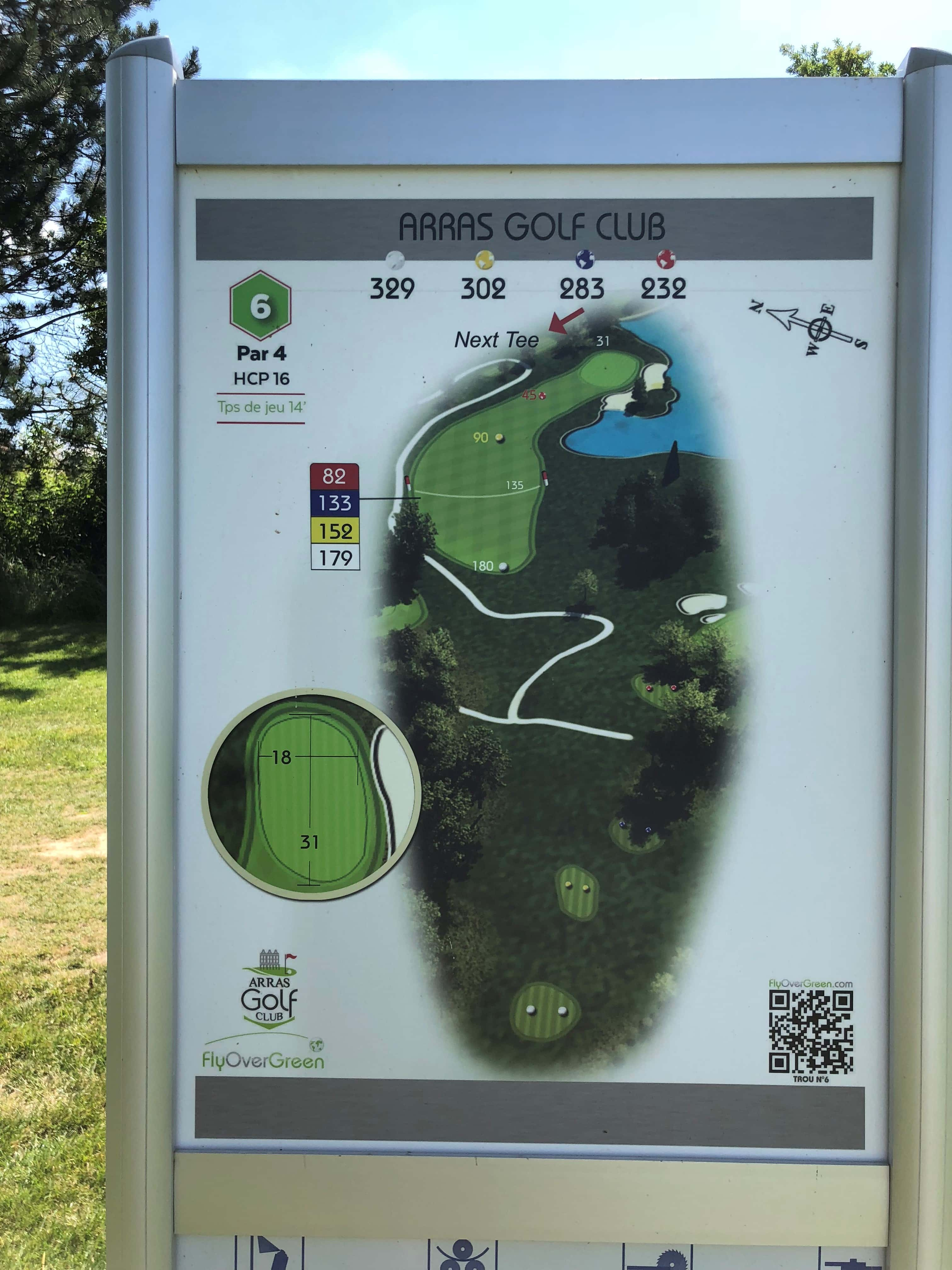Tee 6, Arras Golf Club, Arras Golf Resort, Parcours La Vallée, Distance 329m, Distance 302m, Distance 283m, Distance 232m, Par 4