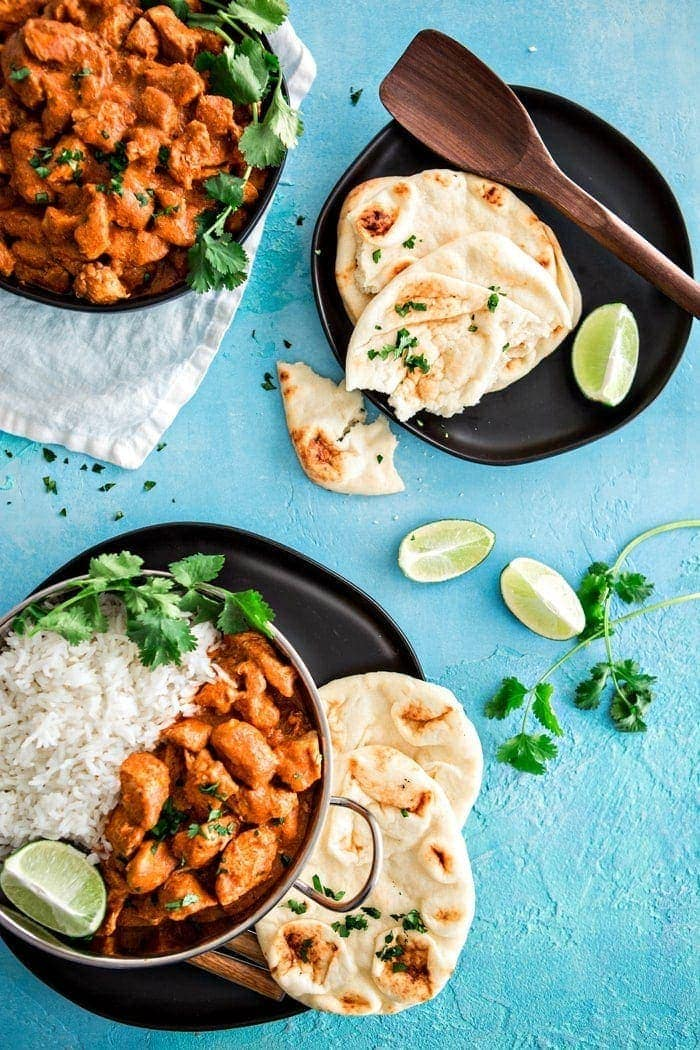 Indian Butter Chicken with Basmati Rice is a delicious, Indian recipe featuring tender chicken in an Indian spiced creamy, tomato based sauce featuring the flavors of garam masala.