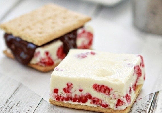 Raspberry Ice Cream Sandwiches | Taken up a notch to satisfy my sophisticated adult taste buds, these Raspberry Ice Cream Sandwiches are just the treat I need to settle my nerves after a long, exhausting day. Creamy, vanilla ice cream, fresh raspberries, and chocolate pair so well together sandwiched between a simple graham cracker.