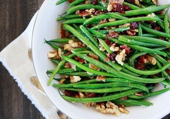 Sautéed Green Beans with Walnuts, Bacon, and Cranberries