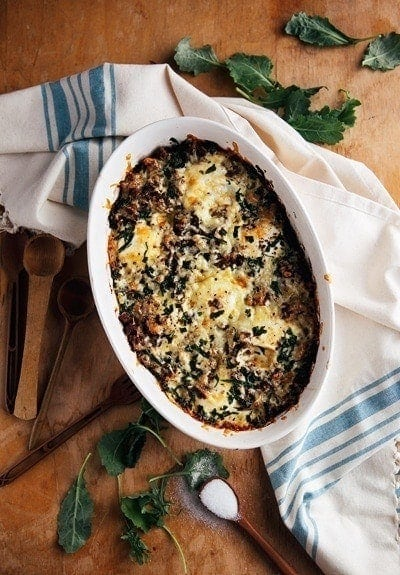baked eggs with sausage and kale