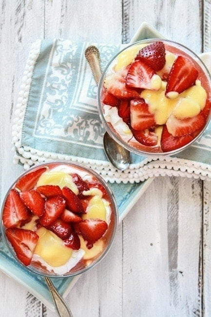 Cheesecake Mousse with Lemon Curd and Strawberries