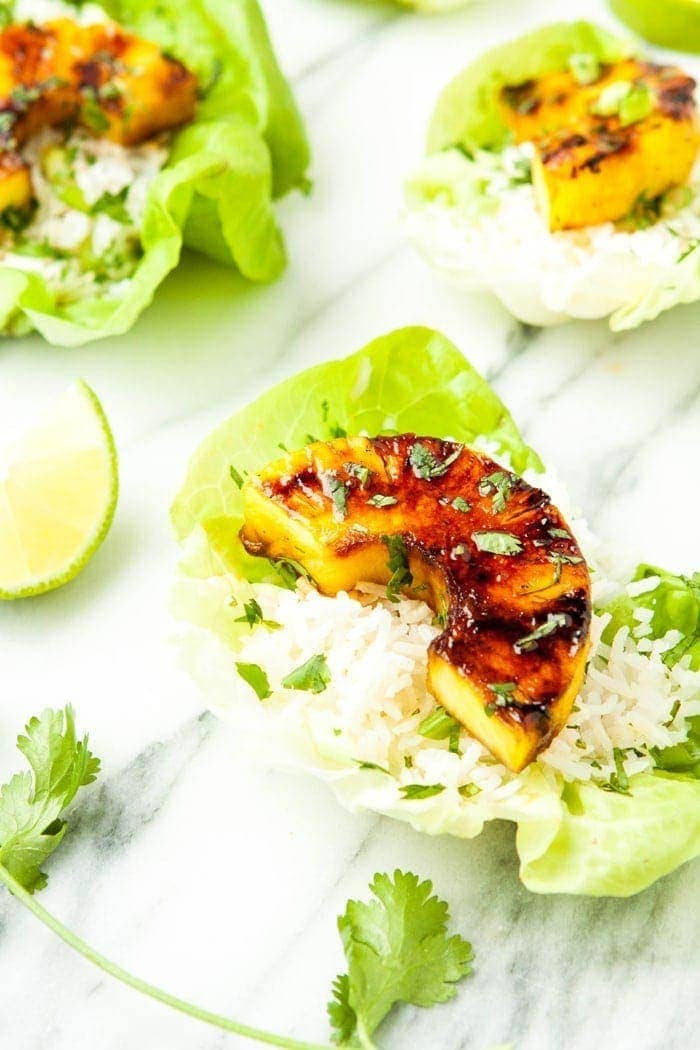 Brown Sugar Lime Grilled Pineapple Lettuce Cups