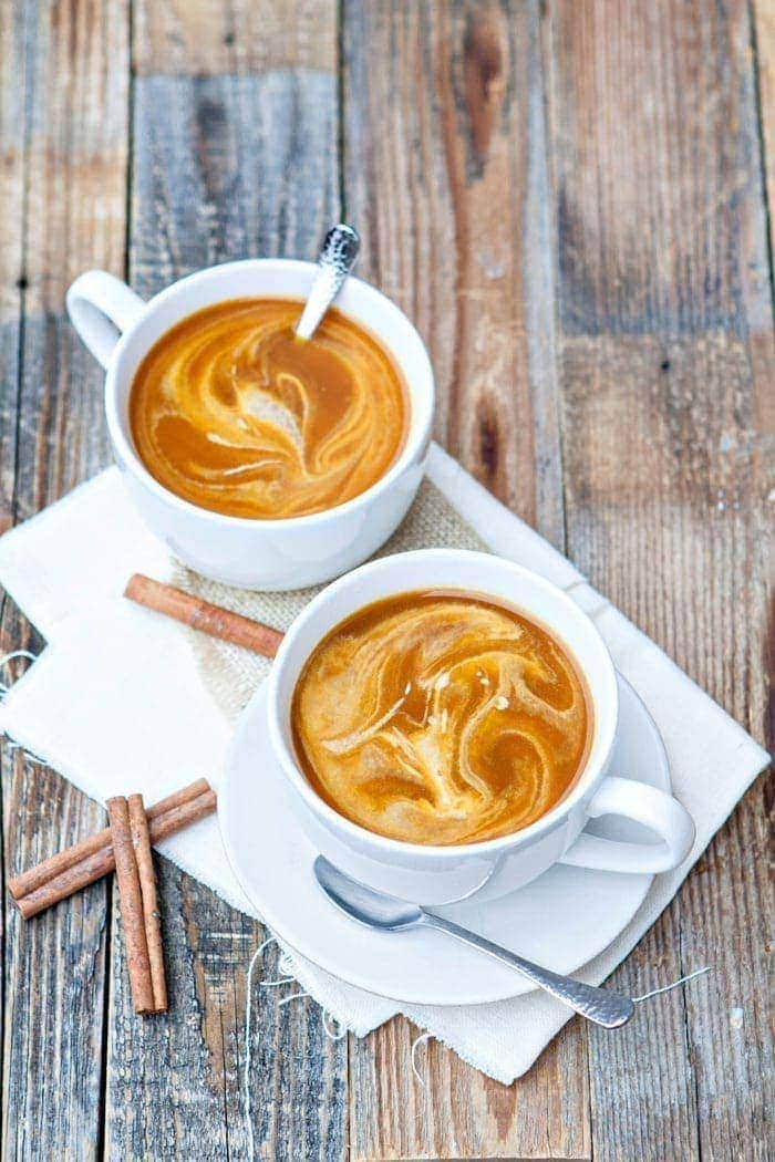 Pumpkin Spice Chai Latte | Pumpkin Spice Chai Lattes are super simple to whip up at home. Serve them hot or cold depending on your taste preferences. For an Iced Pumpkin Spice Chai Latte, allow the mixture to cool to room temperature, then pour over ice in a glass.