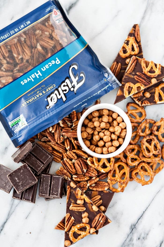 pretzel bark ingredients on countertop
