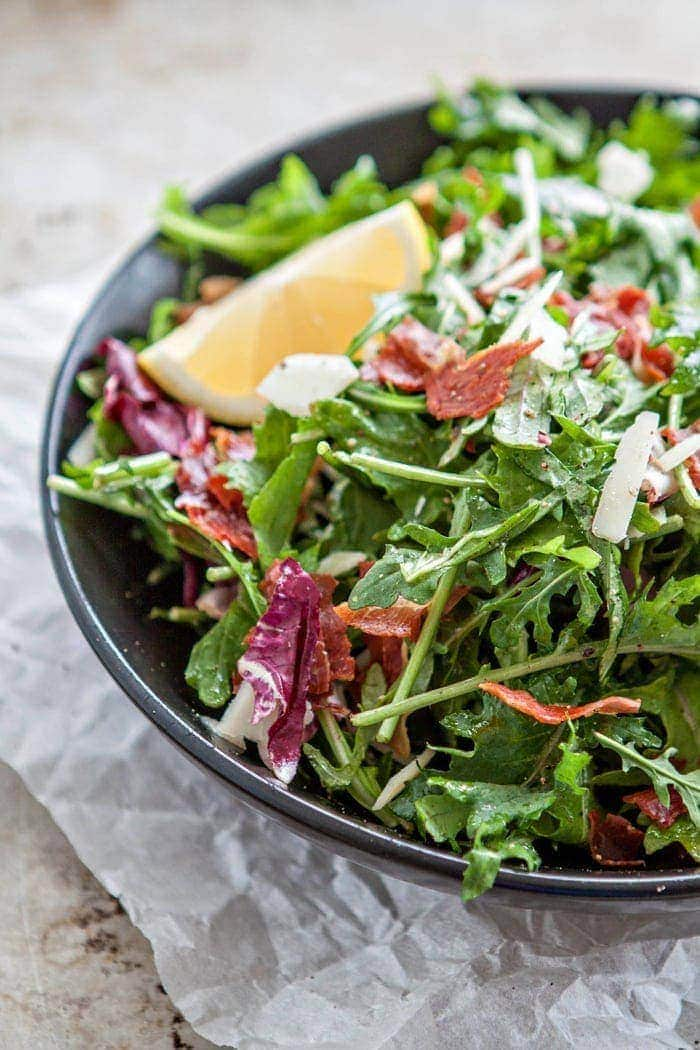 Italian Mixed Greens Salad with Prosciutto and Lemon Dijion Vinaigrette photo