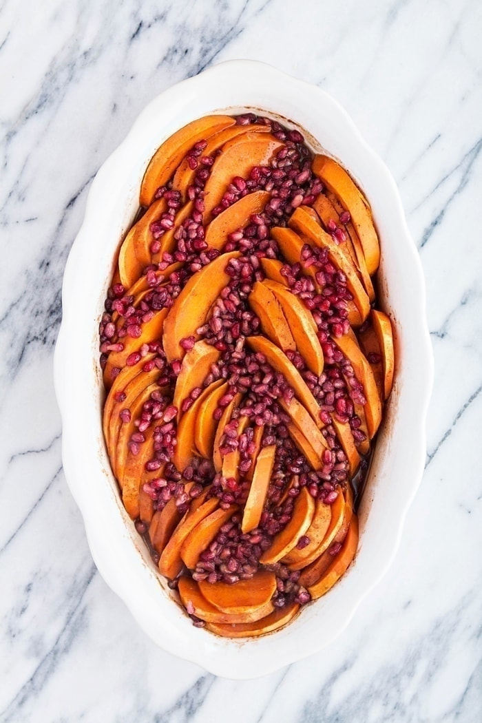 Baked Sweet Potatoes with Pomegranate