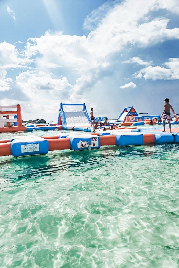 floating bouncy house on water