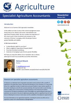 Agriculture Summer 2015 sector newsletter